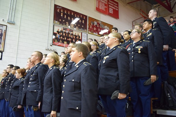 wchs jrotc standing at attention