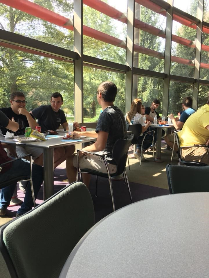 Students eating in the Common Room