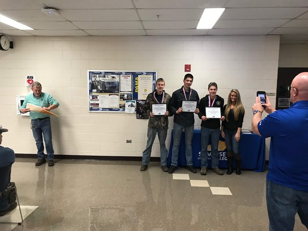 The Welding Fabrication Team, (L-R) John Simpson, Kelby Stinson, and Cody McClean, won 1st place