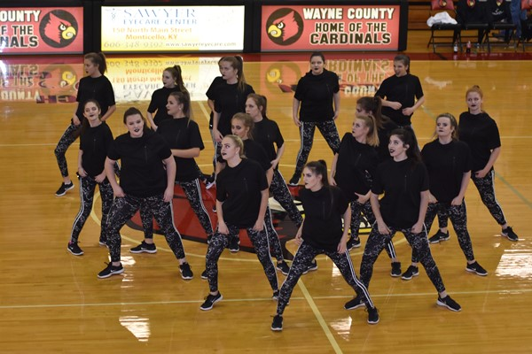 Wayne County's dance team performed at the boy's halftime