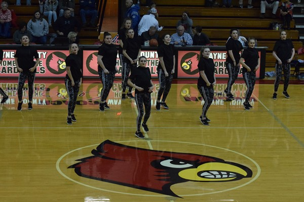 The dance team performing at half-time