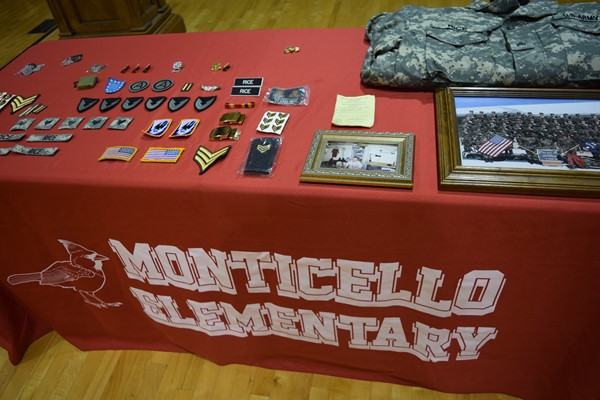 Monticello Elementary Veterans table