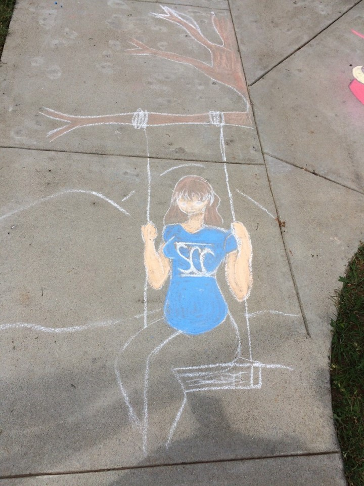 Student draw chalk art