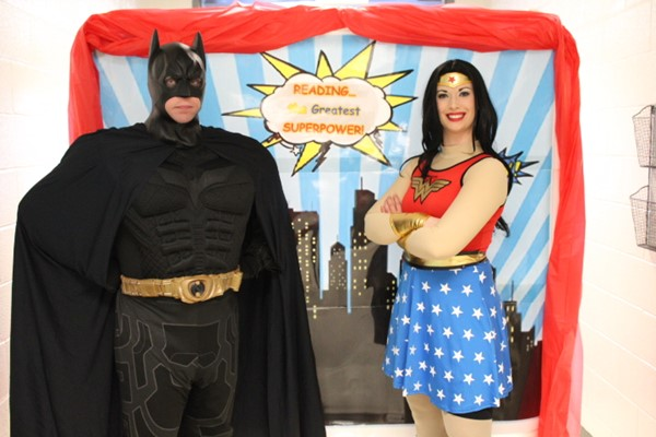 Wonder Woman and Batman made a surprise visit to Walkers Literacy Night