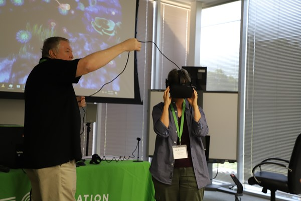 Tim Withers teaching virtual reality.