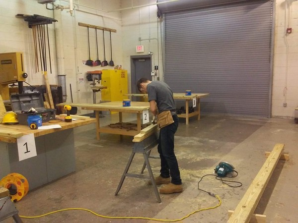 Ori Roysdon competing in Carpentry 1