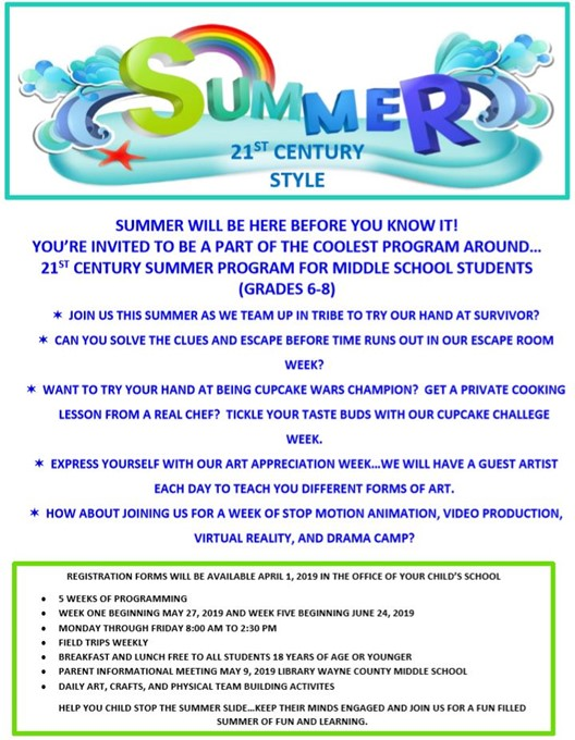 Middle School Summer Camp Flyer
