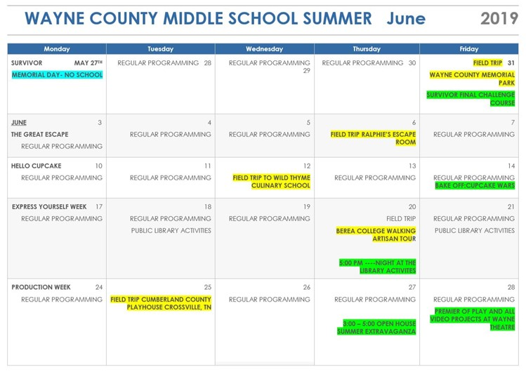 Monticello Elementary Summer Camp Schedule