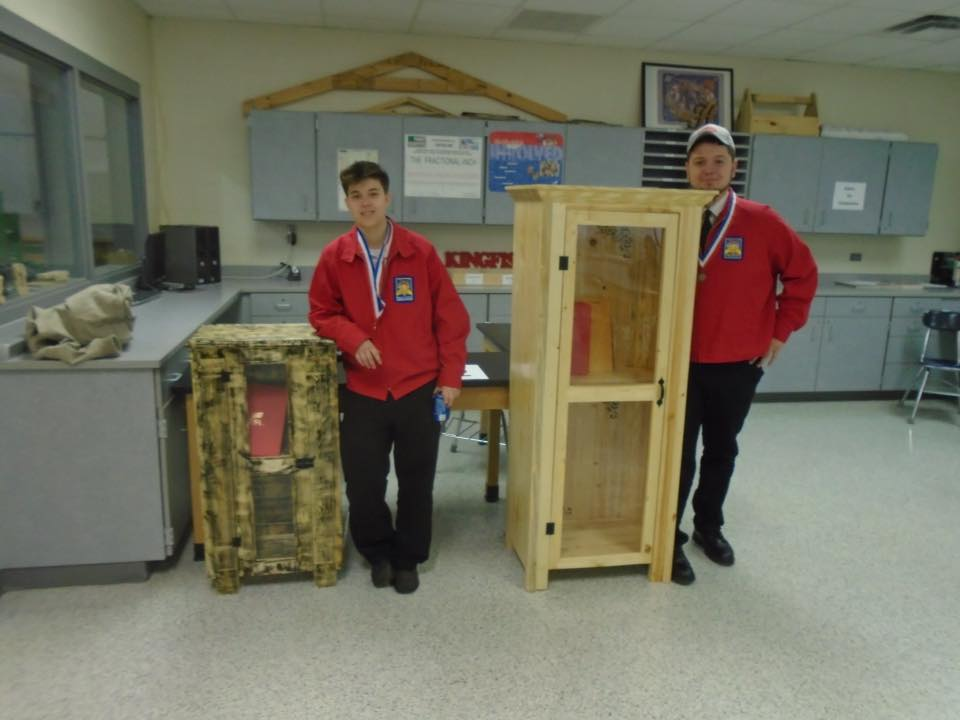 Emily Coomer and Noah Dishman won first and second in Cabinetry