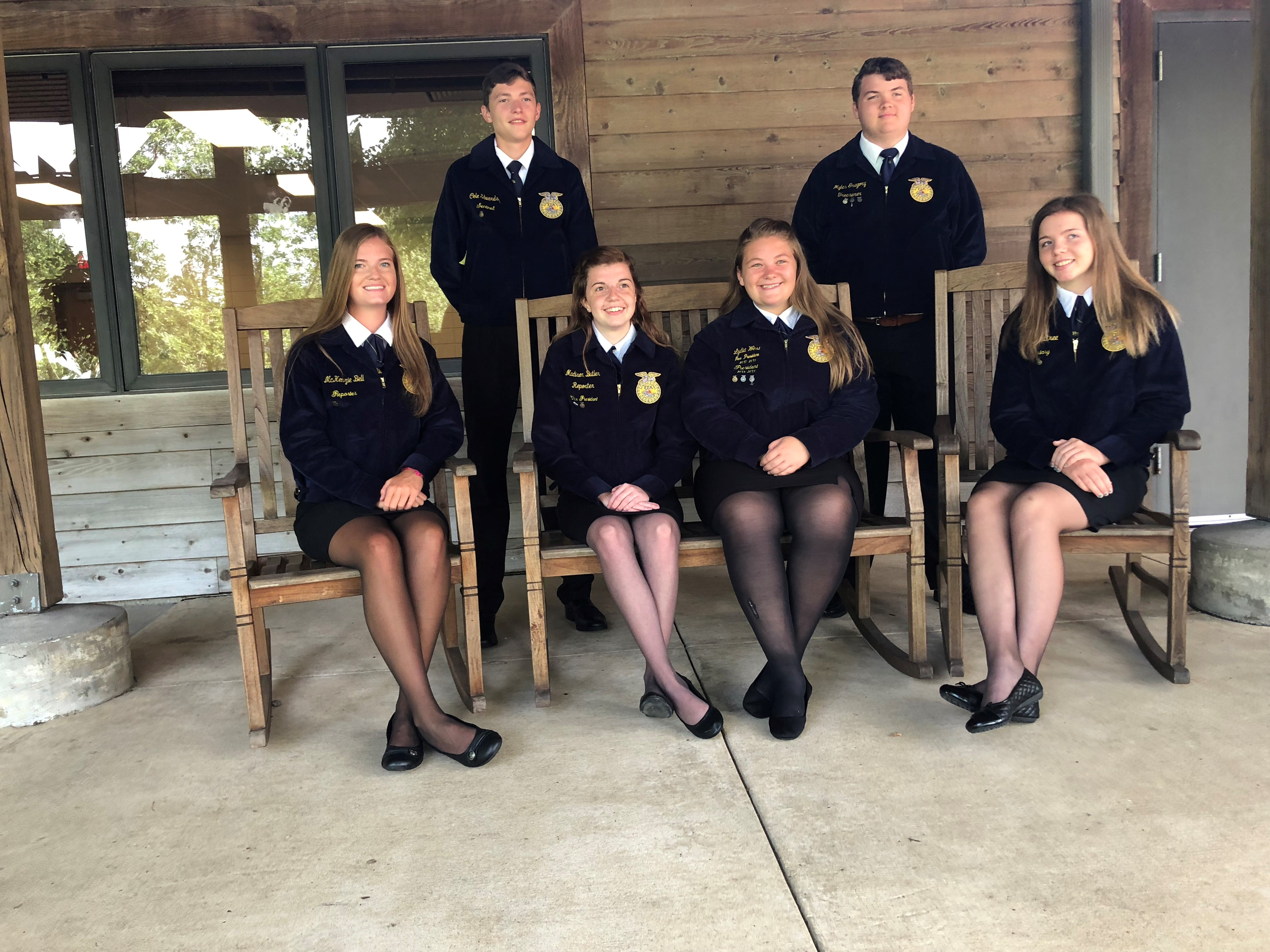 (l-r) The officers of FFA: McKenzie Bell, Cole Edwards, Madison Butler, Lydia West, Myles Gregory, and Mackenzie Crabtree