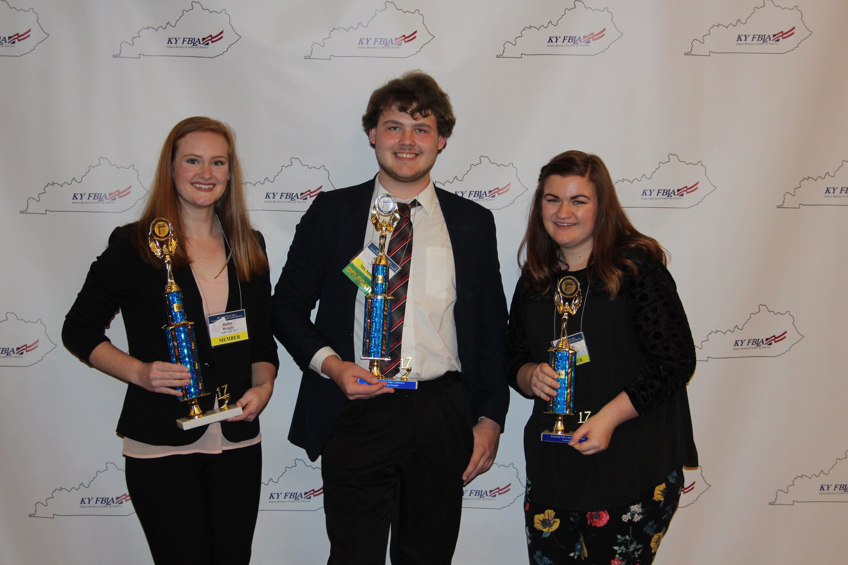 FBLA State Winners Bailey Wright, Brandon Catron, and Emma Turner