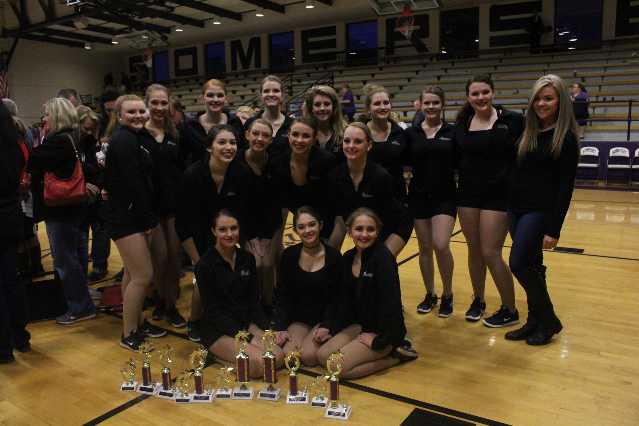 WCHS Dance Team with trophies