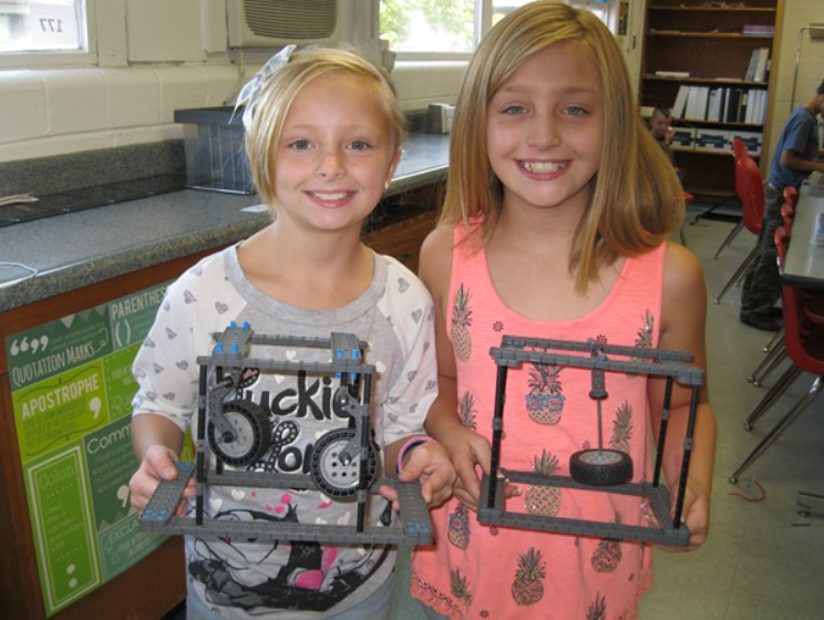 4th graders Aubree Sexton and Caitlyn Youngberg show the pendelums they made