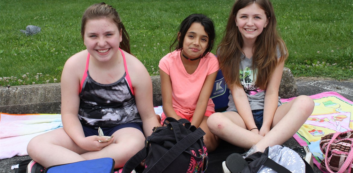 Students enjoy relaxing on field day