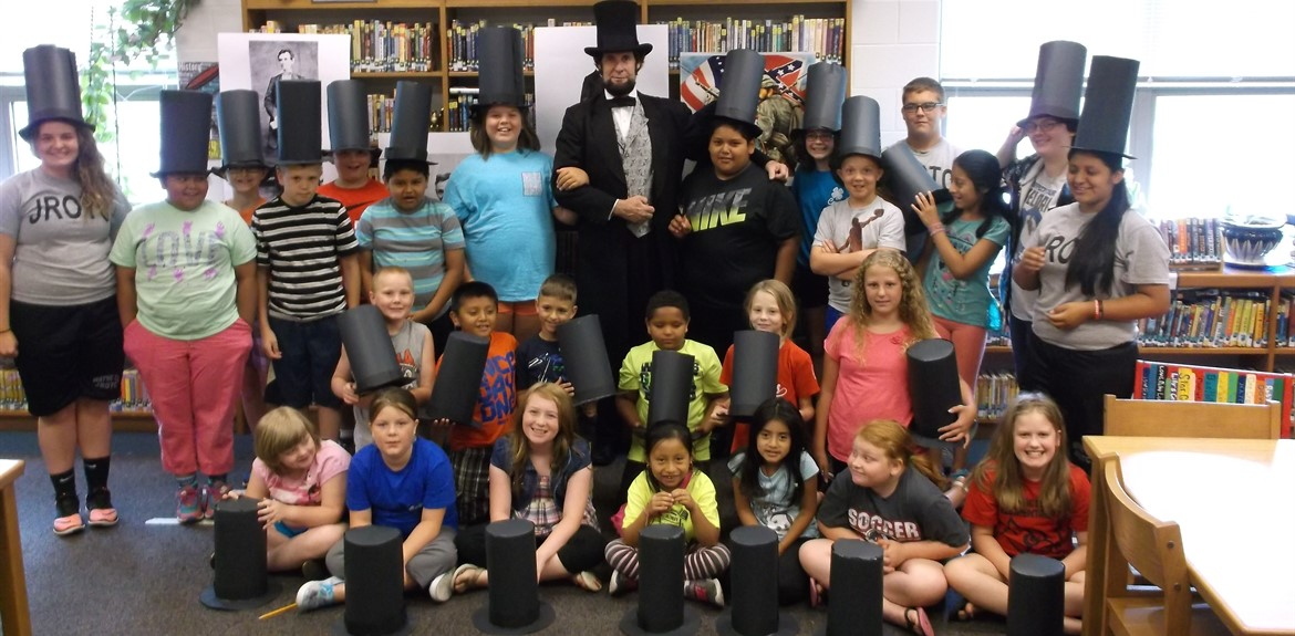 21st Century campers met Abraham Lincoln impersonator Dennis Boggs