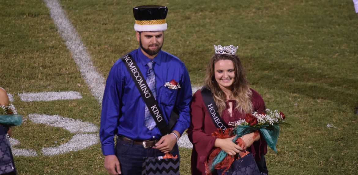 Homecoming Queen and King Chelsea Adams and Gabe Dick