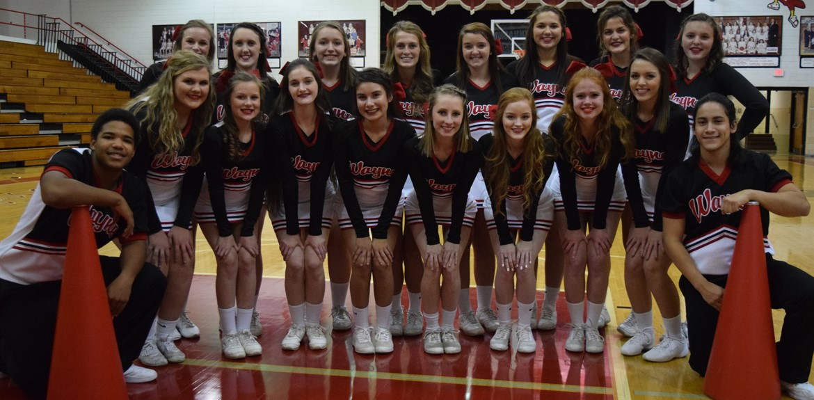 The Wayne County High School 2016-2017 cheer squad