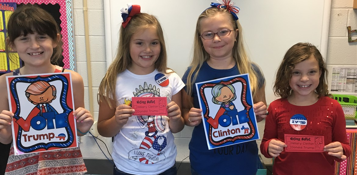 Monticello Elementary students had an activity for students to learn about the voting process