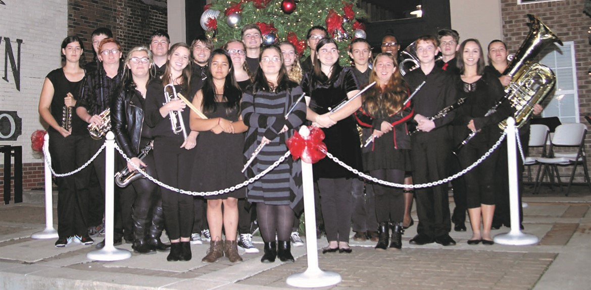 An ensemble from the Wayne County High School Band performed at the Annual Christmas Tree Lighting downtown