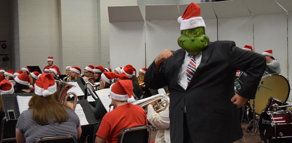 Band Director Andy Critz made a surprise appearance as the Grinch while the concert band performed
