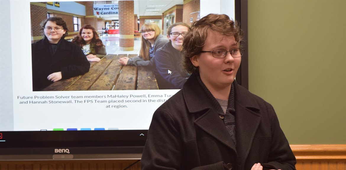 WCHS Academic Team member MaHaley Powell speaks about the FPS Team's success at the February Board of Education meeting
