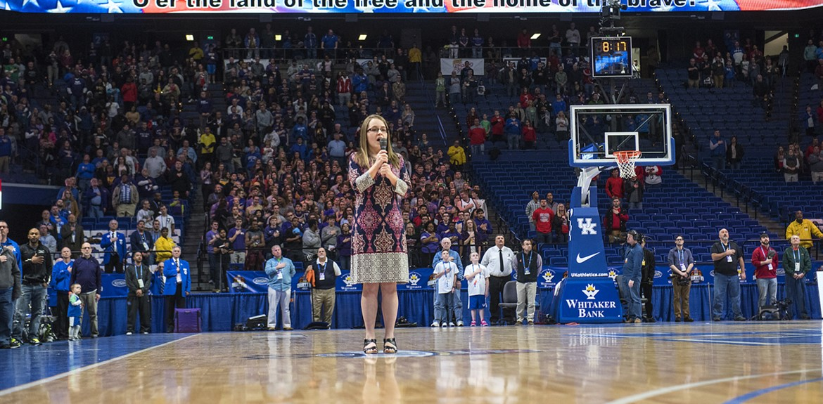 WCHS student Jessie Allison sang the National Anthem at the Boys' Sweet 16 Basketball Tournament in Rupp Arena