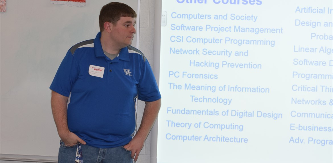 UK Computer Science/Computer Engineering student Matthew Hutchinson shared course information with 8th graders at Operation Preparation workshops