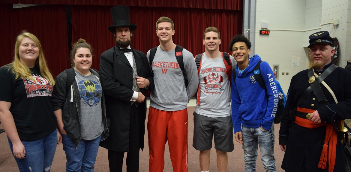 WCHS students enjoyed meeting Dennis Boggs after a reenactment presentation of Lincoln