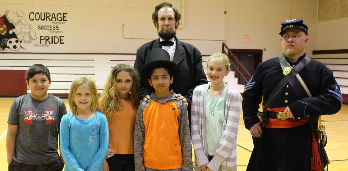 WCME students enjoyed meeting Mr. Lincoln and his Civil War soldier companion at a terrific presentation