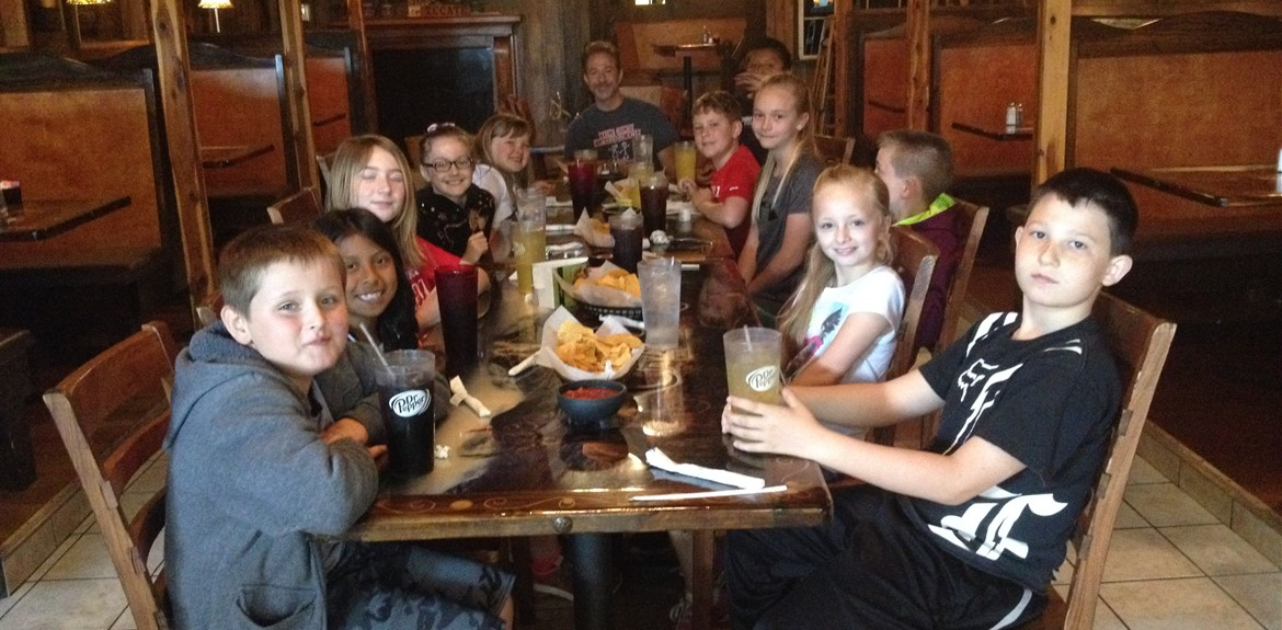 Exemplary Spanish class students from Monticello Elementary enjoy a meal at a local restaurant