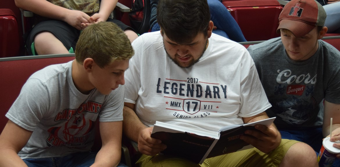 Students at WCHS enjoy reading the 2016-17 yearbook