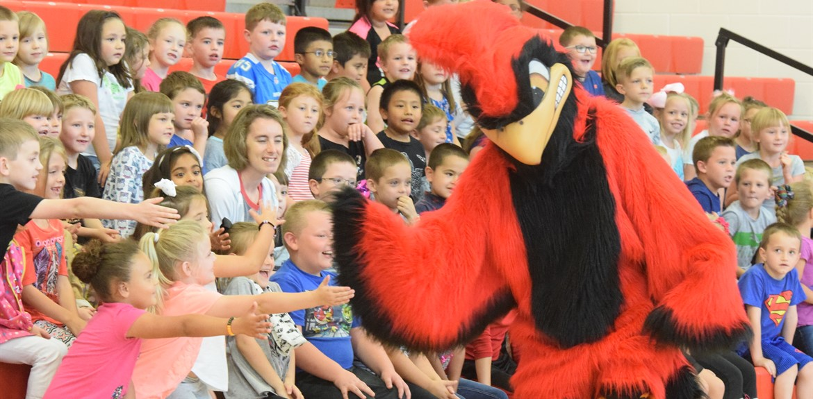 Go Cards! students at Bell celebrate with the Cardinal