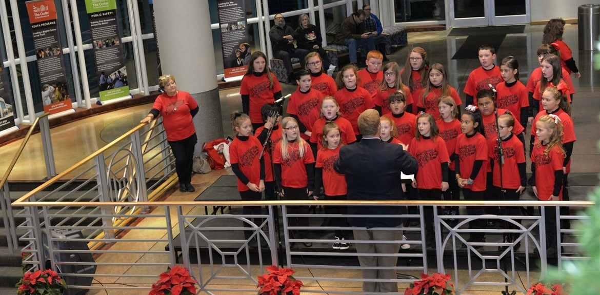 Monticello Elementary Waynetonian Choir preformed at the Christmas Tree Lighting Ceremony at The Center for Rural Development