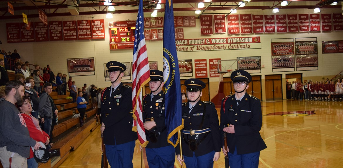 JROTC Color Guard presenting the flags