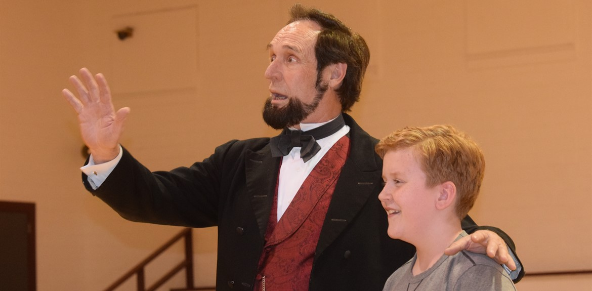 An Abraham Lincoln impersonator visited various WC schools providing lively entertainment for all audiences