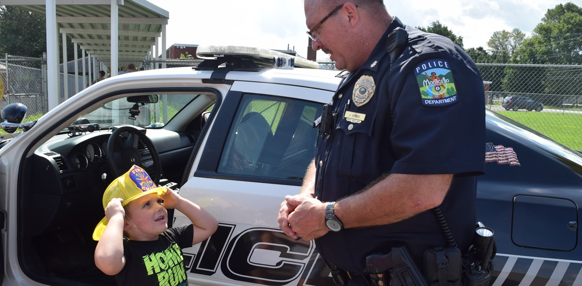 Aiden Cooper looks up to Police Officer Joe Bybee