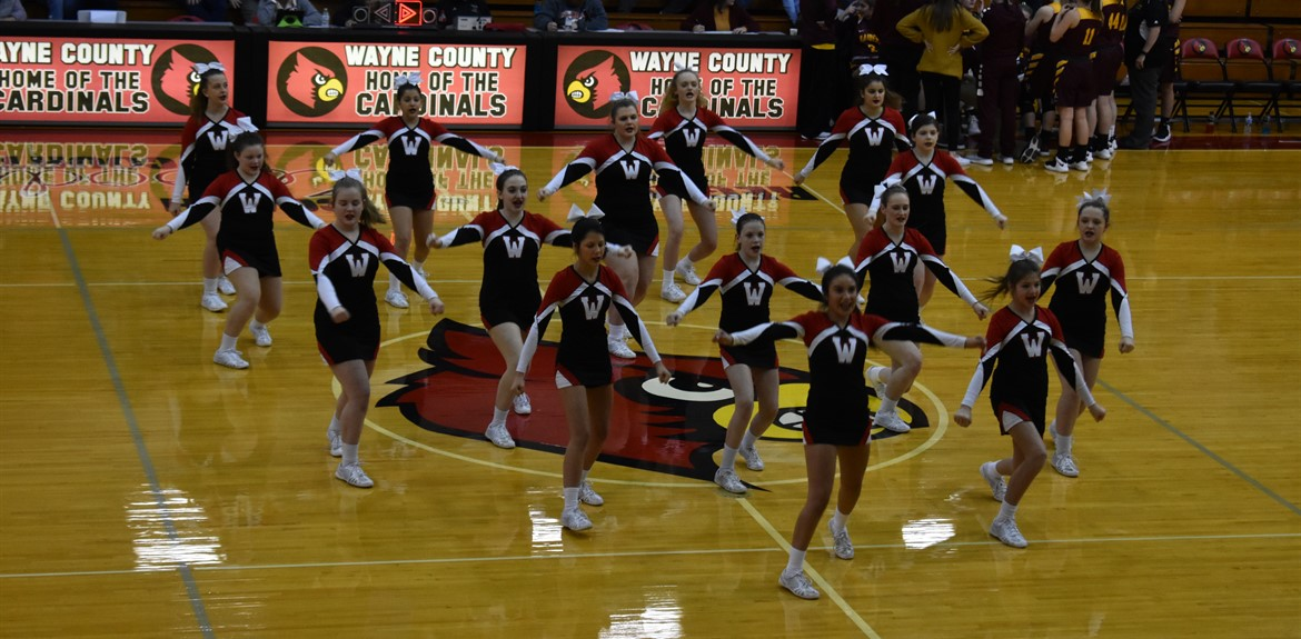 The WCHS Cheerleaders performing during halftime