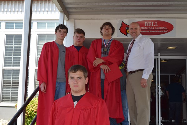 Back Row (L-R): Kelsay Philpot, Draven Parmley, Austin Conn, and WCHS Principal Justin Alley. Front Row (L-R): Jacob Dennis