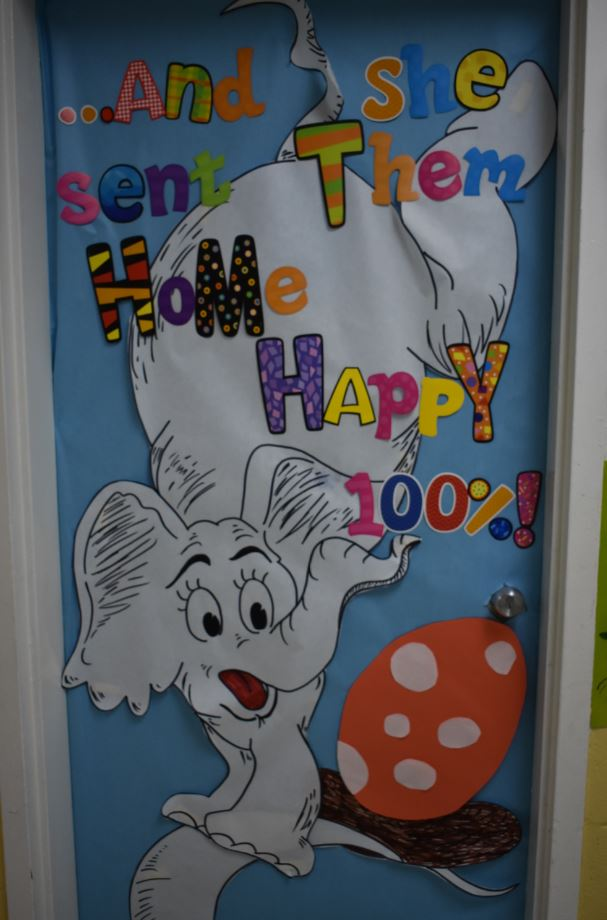 Bethany Latham illustrated hers and her neighbors door for Dr. Seuss week