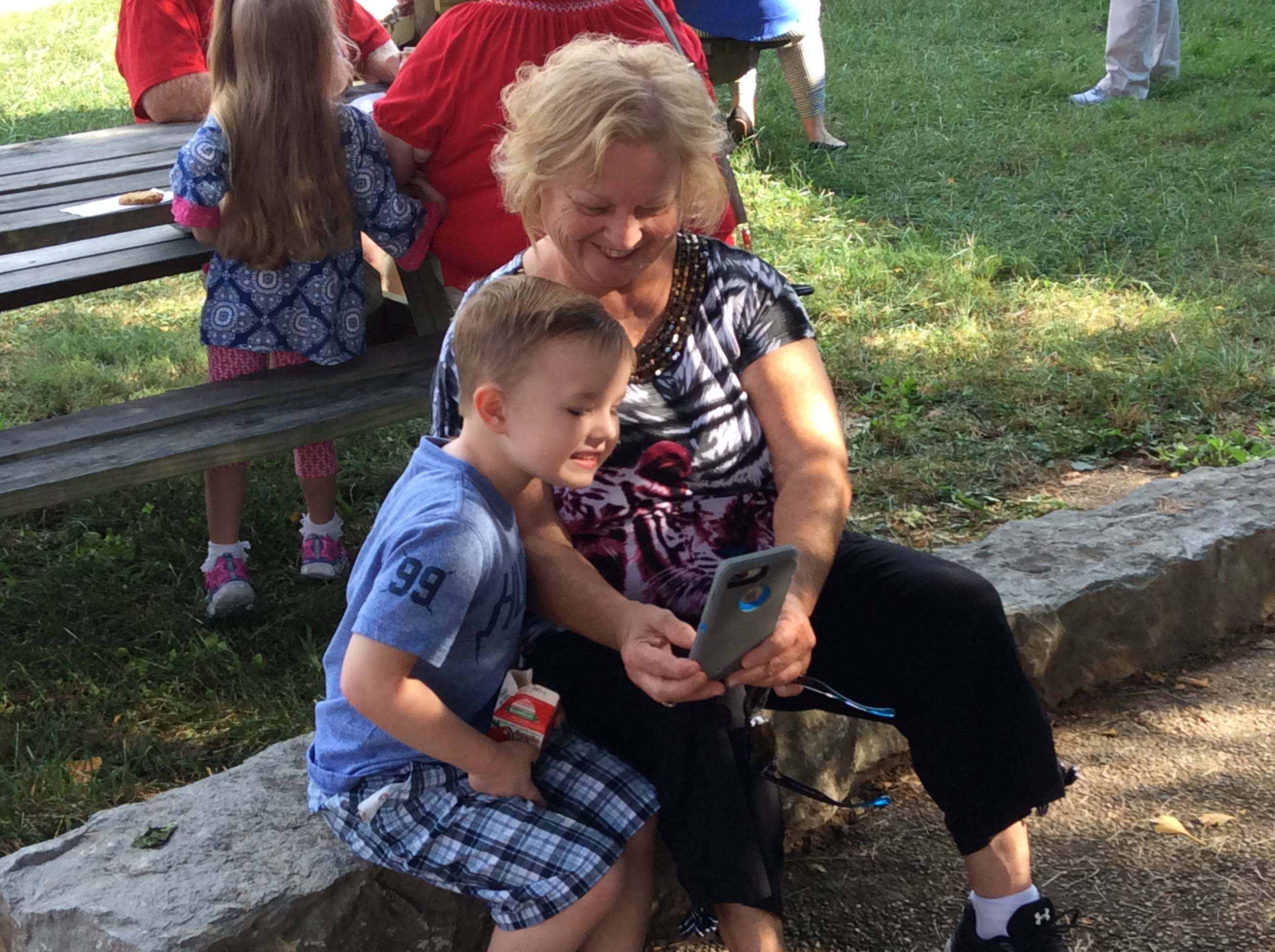 Linda Atkins and grandson Deacon Chriswell take a selfie at Grandparents Week, Mrs. Shannon Shelton's class.